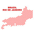 rio de janeiro state map - mosaic of lovely hearts vector image vector image