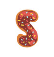 s letter in the shape of sweet glazed cookie vector image vector image