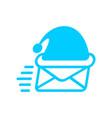 santa mail logo christmas post emblem mail vector image vector image
