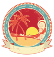Sea waves and island vintage vector | Price: 1 Credit (USD $1)