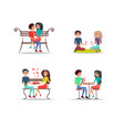 set four couples in love on white background vector image vector image