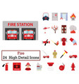 set of 24 fire icons vector image