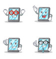 set of tablet character with hero okay proud vector image vector image