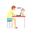 smiling boy sitting at the table and chatting in vector image