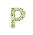 Spring green leaves eco letter P vector image vector image