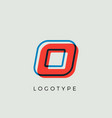 stunning letter o with 3d color contour vector image vector image