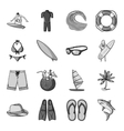 Surfing set icons in monochrome style Big vector image vector image