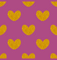 tile pattern with golden hearts on background vector image
