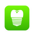 tooth implant icon digital green vector image vector image