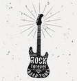 vintage guitar label with sunburst diamond bones vector image vector image