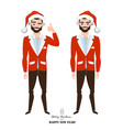 young men in red christmas clothes vector image