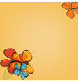 Abstract yellow background with flowers vector image vector image