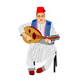 arab man play oud lute or mandola music instrument vector image vector image