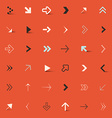 Arrows Set on Red Retro Background vector image vector image