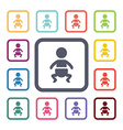 baby flat icons set vector image vector image
