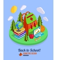 Back to school isometric background with pile of vector image vector image