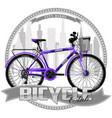 bicycle of a certain type on symbolic background