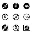 black cd icon set vector image vector image