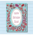 Blue happy birthday dear card on wooden background vector image