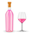 bottle of rose wine with glass vector image vector image