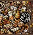 cartoon doodles coffee frame vector image vector image