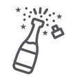 champagne line icon alcohol and toast bottle vector image