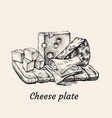 cheese plate hand drawing vector image