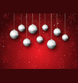 christmas baubles on a snowy background vector image vector image
