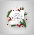 christmas deer and pine tree decoration card vector image vector image