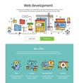 colored web development banner set vector image