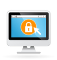 Computer icon with padlock on screen - security vector image vector image