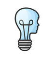 concept man head like bulb with brain on white vector image vector image