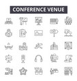 conference venue line icons signs set vector image