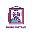 creative flat emblem with portrait of man vector image