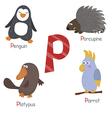 Cute zoo alphabet vector image