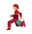 fireman in red protective uniform and helmet runs vector image vector image