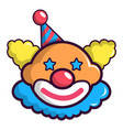 funny clown head icon cartoon style vector image