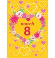Greeting Card 8 March Woman Day vector image vector image