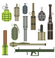 grenade set military weapon grenade launcher vector image