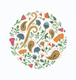 hand drawn round template with cute flowers vector image vector image
