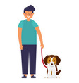 happy boy with her pet dog vector image