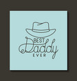 happy fathers day card with hat vector image