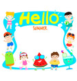 hello summer multicultural cute kids and fruit vector image vector image