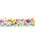 horizontal banner with multicolored wildflowers vector image vector image
