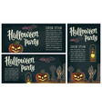 horizontal poster with halloween party calligraphy vector image vector image