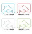 House icon outline set vector image vector image
