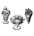 ice cream hand drawn set vector image