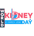kidney day greeting card vector image vector image
