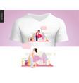 kissing scene composition t-shirt design vector image