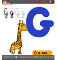 letter g with cartoon giraffe vector image vector image